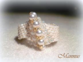 Fehér peyote gyűrű 4