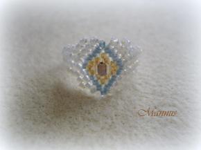 Arany-kék peyote gyűrű 1