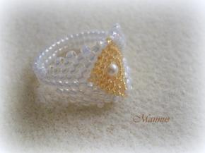 Fehér peyote gyűrű arannyal 1